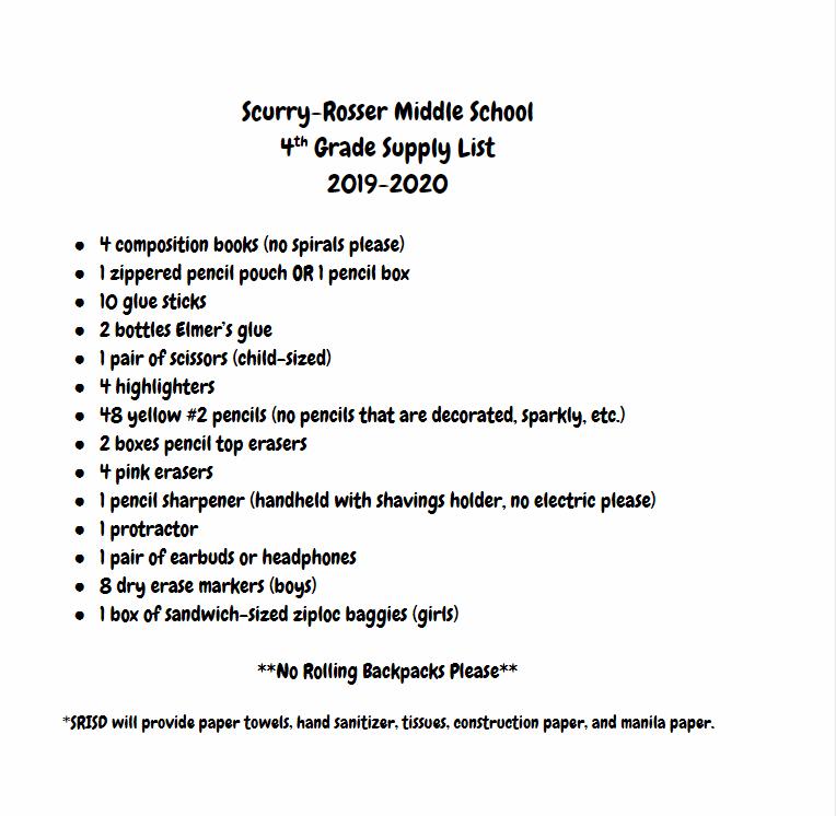 Parent Resources / School Supply Lists