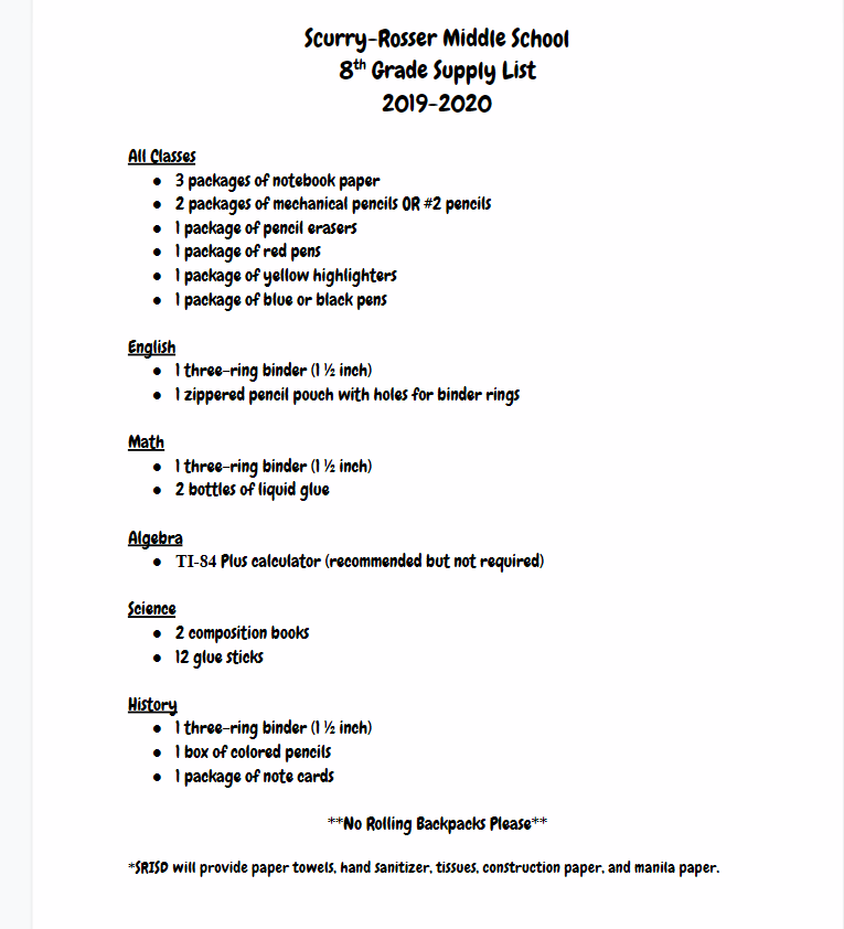 Parent Resources / School Supply Lists
