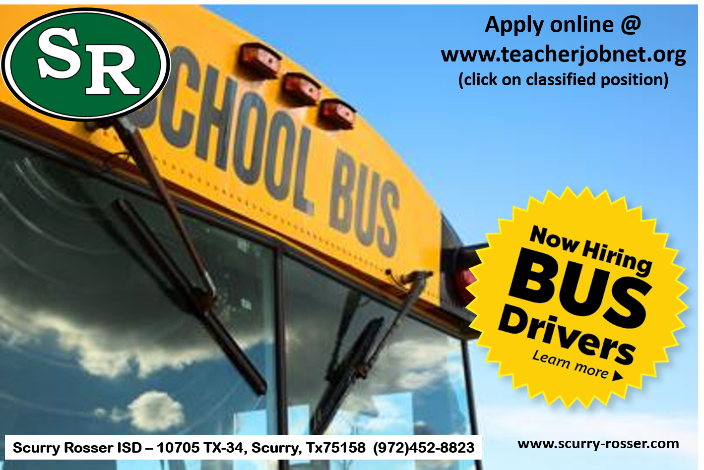 Now Hiring - Bus Drivers