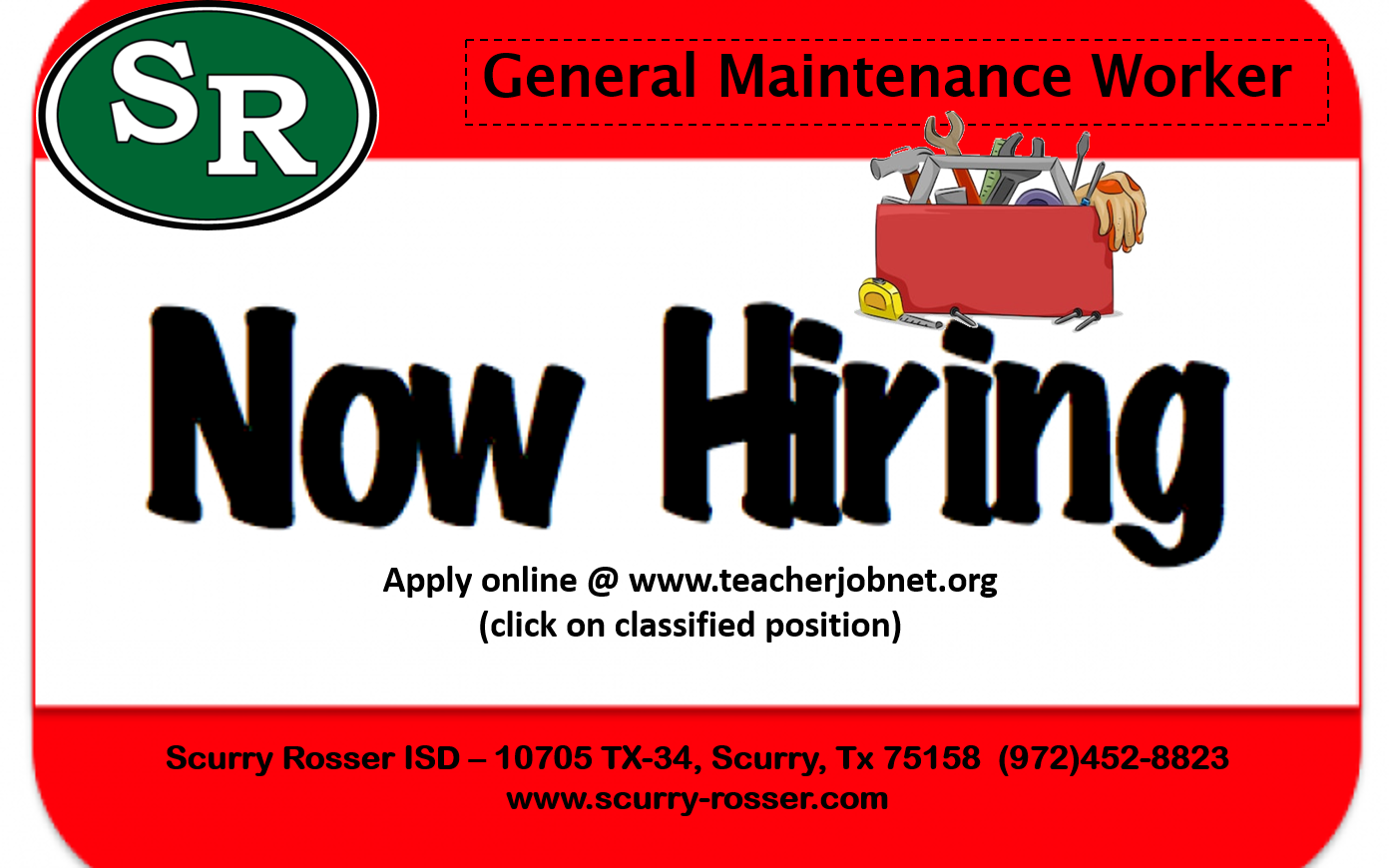 Now Hiring - Maintenance Worker